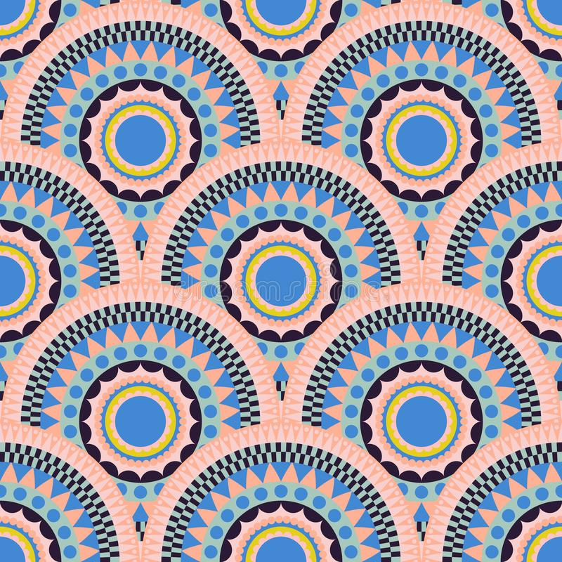 Ethnic fish scale pattern seamless ornament. royalty free illustration