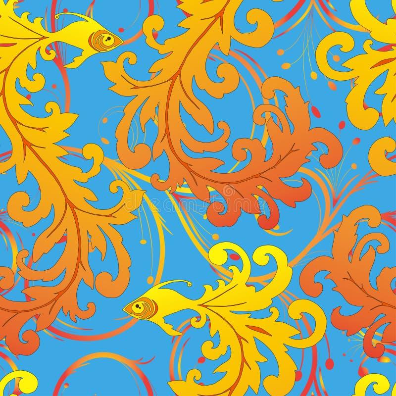 Ethnic fish seamless pattern royalty free illustration
