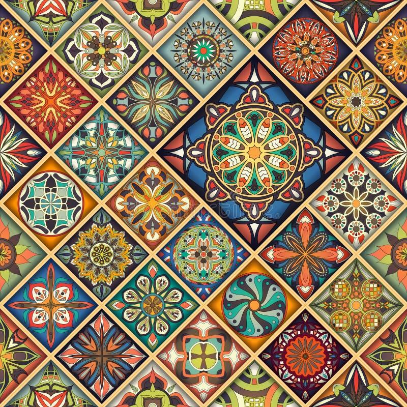 Ethnic floral mandala seamless pattern. Colorful mosaic background. Ethnic floral mandala seamless pattern. Colorful mosaic background stock illustration