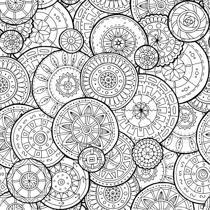Ethnic floral mandalas, doodle background circles in vector. Seamless pattern. Black and white pattern for coloring book for adults and kids vector illustration