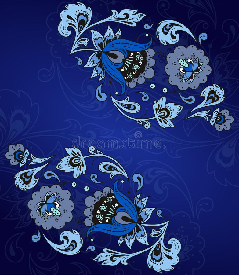Ethnic floral ornament with leaves, flowers, berries. Russian folk style hohloma element royalty free illustration