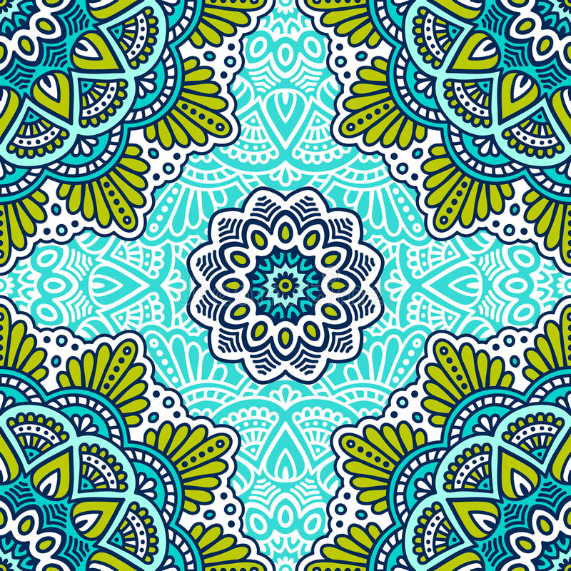 Ethnic floral seamless pattern. Abstract ornamental pattern royalty free illustration