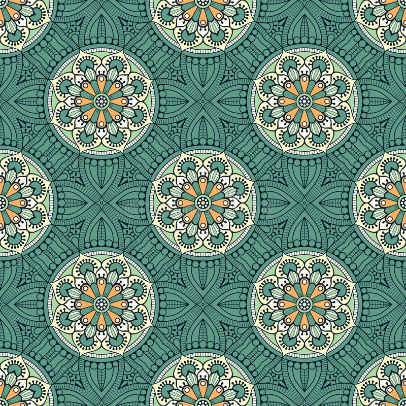 Ethnic floral seamless pattern. Abstract ornamental pattern vector illustration