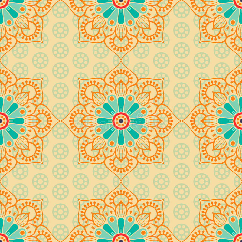 Ethnic floral seamless pattern. Abstract ornamental pattern stock illustration