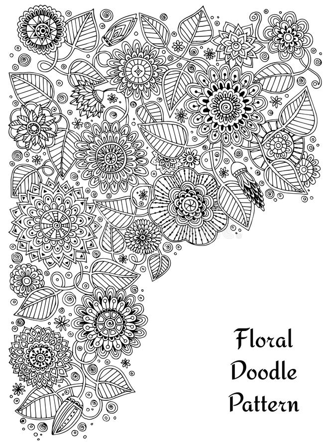 Ethnic Floral Zentangle Doodle Background Pattern Circle