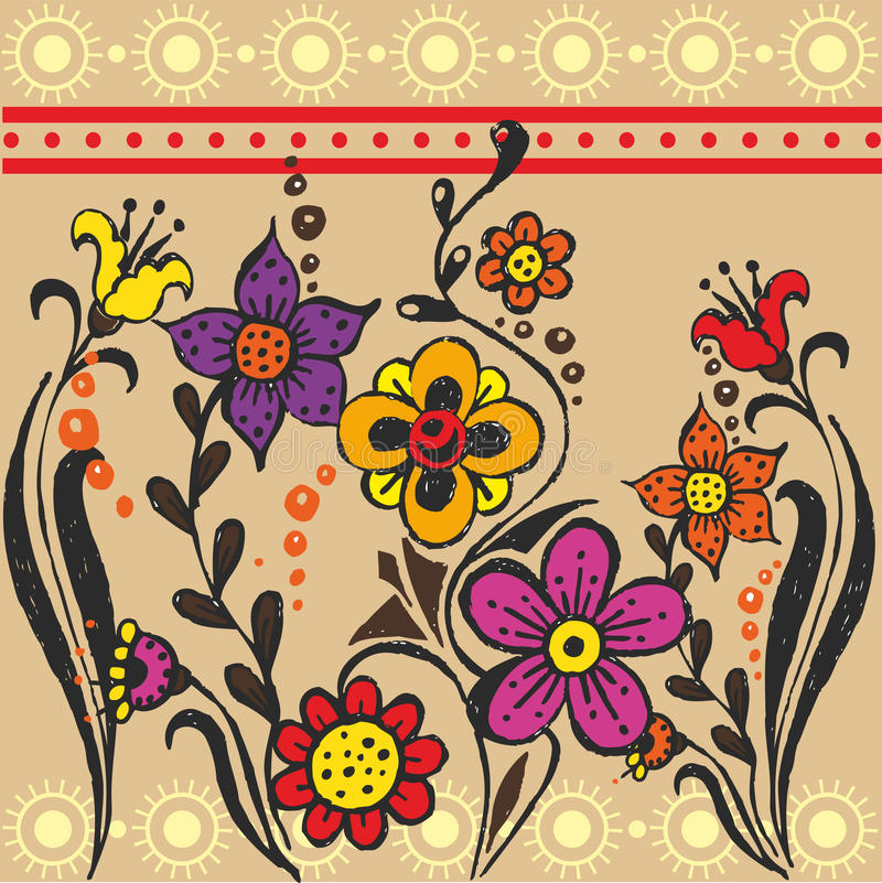 Download Ethnic flower stock vector. Illustration of beautiful - 23866780