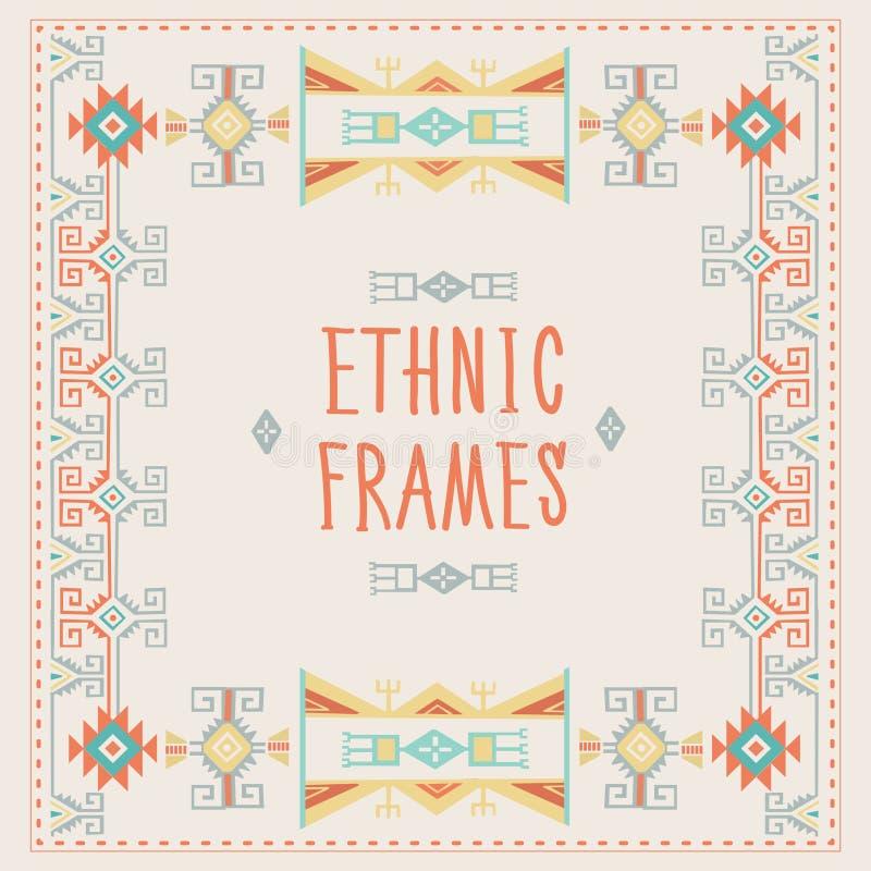 Ethnic Frames Vector. Tribal Vector. Navajo Stile Frame. Tribal Vintage Ethnic Ornament. vector illustration