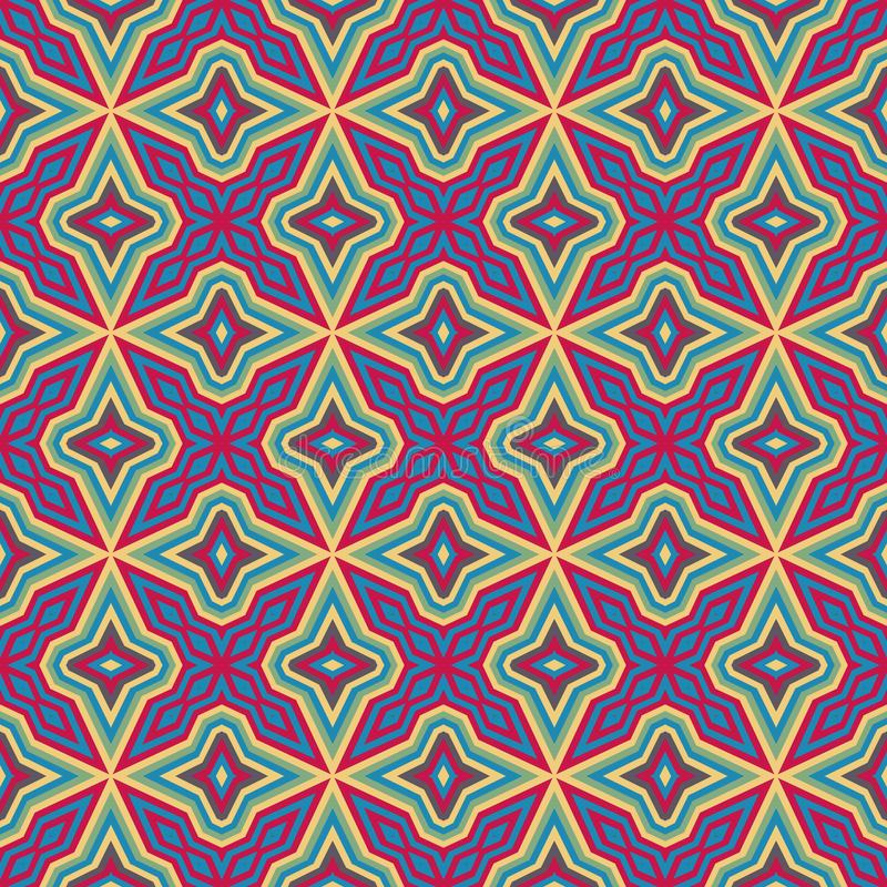 Ethnic geometric pattern in repeat. Fabric print. Seamless background, mosaic ornament, retro style. royalty free illustration