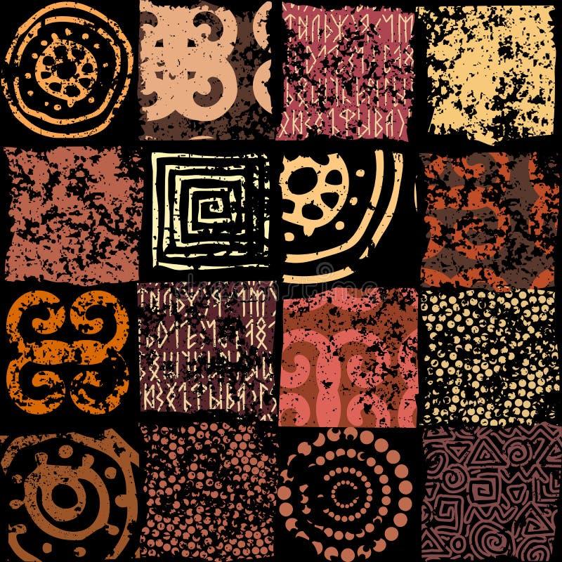Ethnic grunge pattern stock illustration