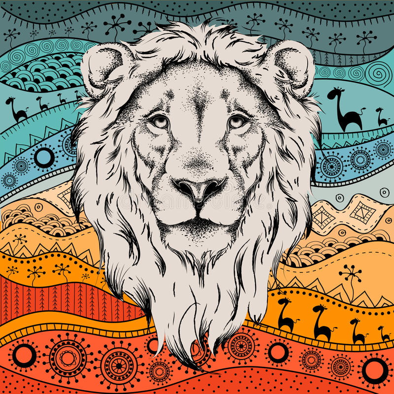 Ethnic hand drawing head of lion on African hand-drawn ethno pattern. royalty free illustration
