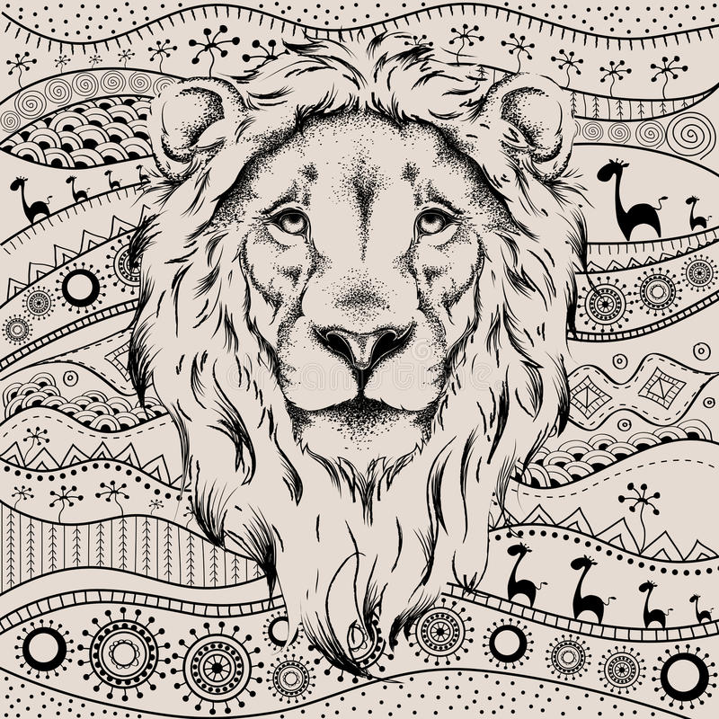Ethnic hand drawing head of lion on African hand-drawn ethno pattern. totem / tattoo design. Use for print, posters, t-shirts. Ve royalty free illustration