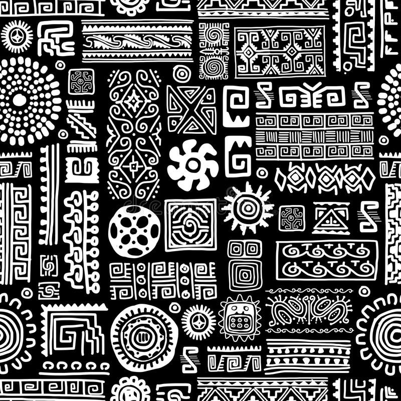 Ethnic handmade ornament, seamless pattern for royalty free illustration