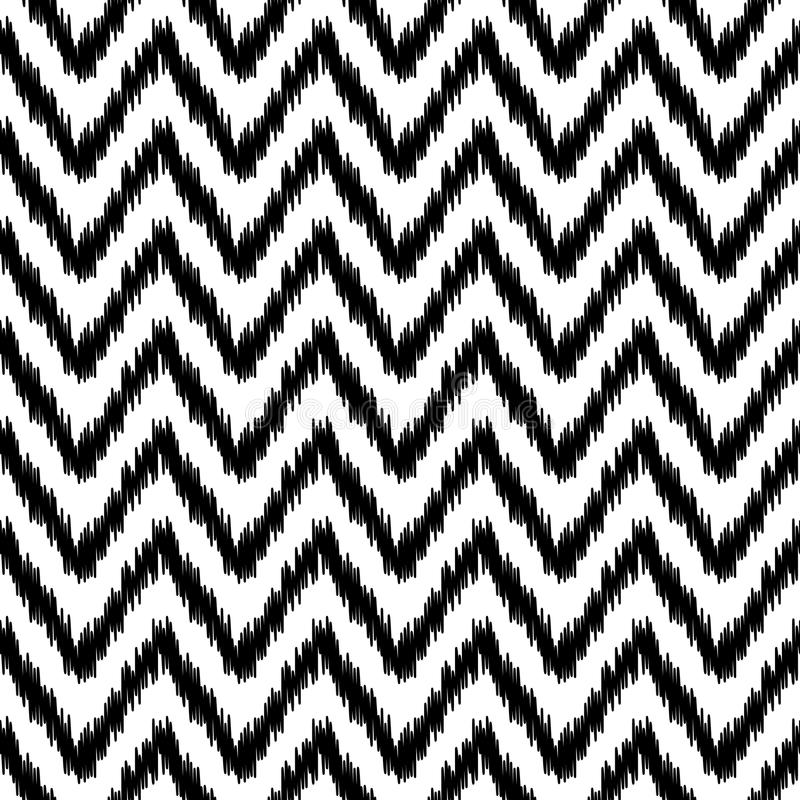 Ethnic ikat abstract geometric chevron pattern in black and white, vector royalty free illustration