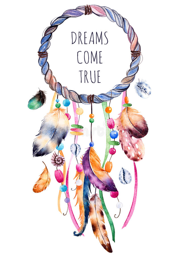 Ethnic illustration with native American Indian watercolor dreamcatcher. stock illustration