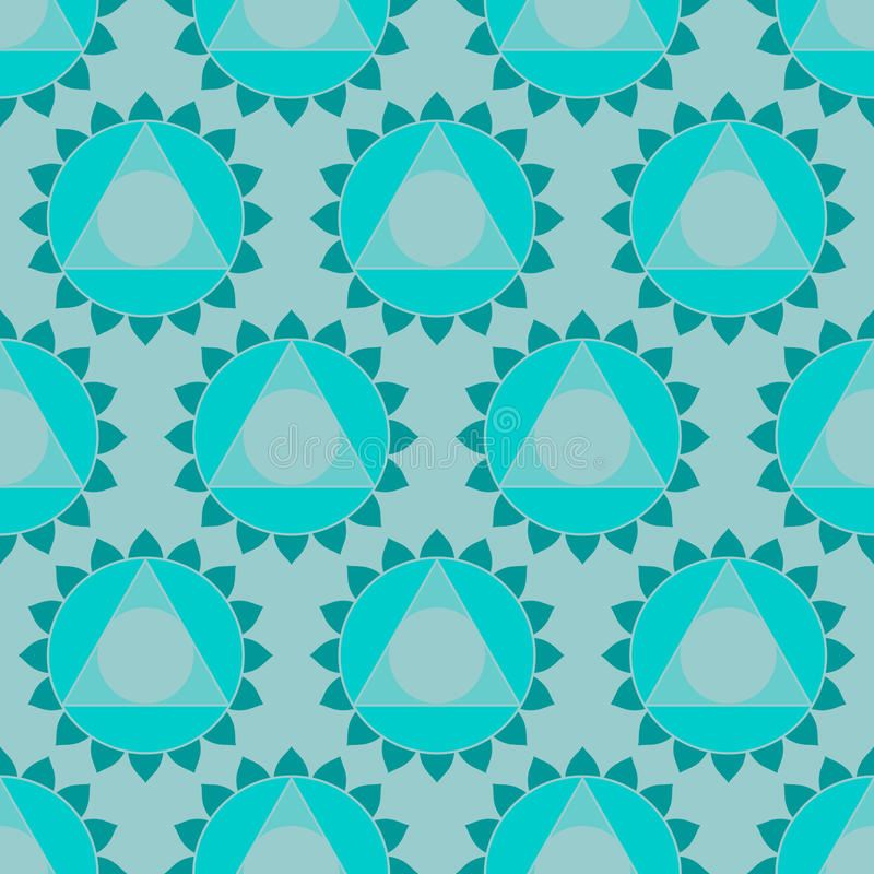 Ethnic Indian geometric seamless pattern. Abstract geometric ethnic Indian background, round patterns and triangles. Oriental seamless pattern in , turquoise royalty free illustration