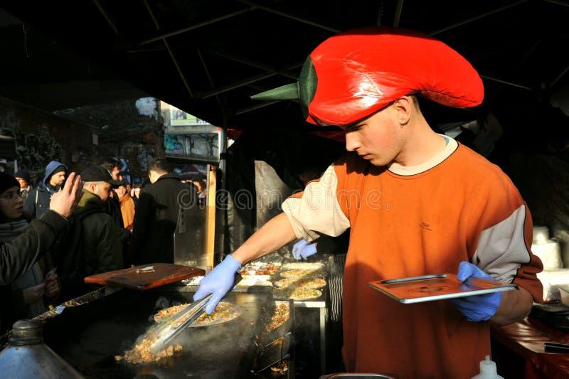 Ethnic Italian street food in Brick lane at a London Market royalty free stock image