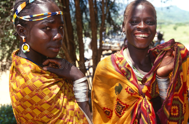 Ethnic Karamojong women, Karamoja, Uganda stock photo
