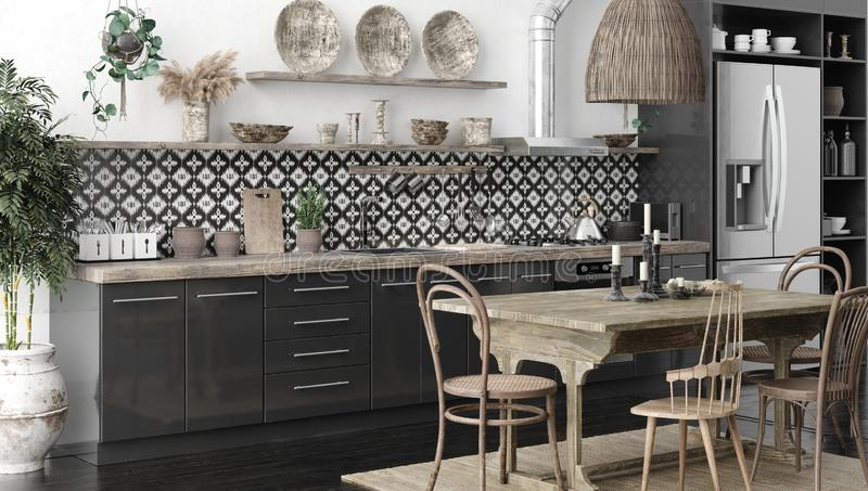 Ethnic kitchen interior, panoramic view stock photo