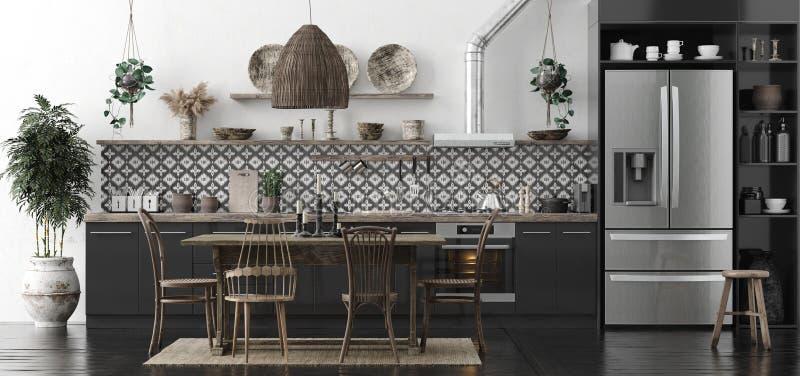 Ethnic kitchen interior, panoramic view. 3d render stock photo