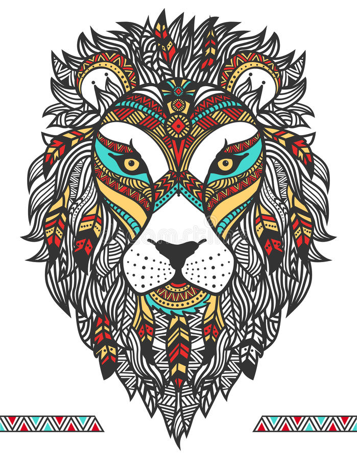 Ethnic lion. A tattoo of a Lion with an ornament. Totem. Hand Drawn vector illustration