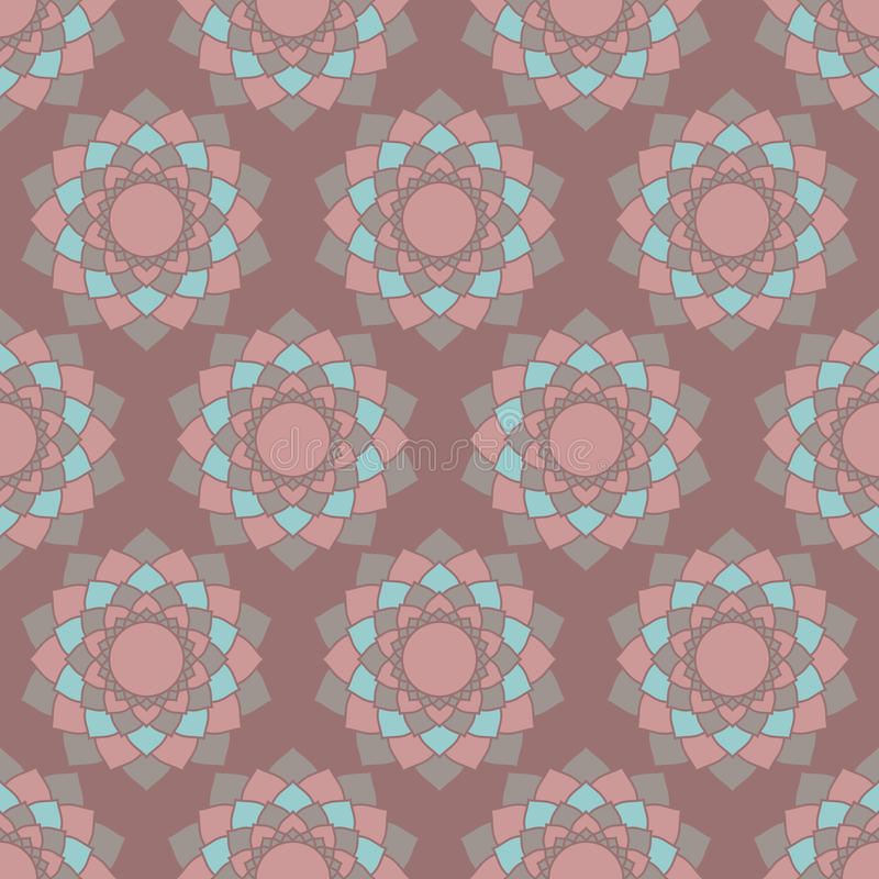 Ethnic mandalas geometric seamless pattern. Abstract geometric ethnic Indian background, round patterns. Oriental seamless pattern in vector brown and turquoise royalty free illustration