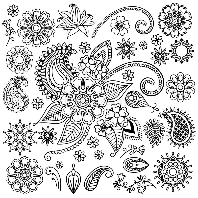 Ethnic Mehndi Flowers Elements royalty free illustration