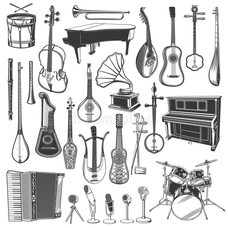 Ethnic music instrument and microphone sketches. Musical instrument, microphone and gramophone sketches of ethnic and classical music. Vector piano, drums and royalty free illustration