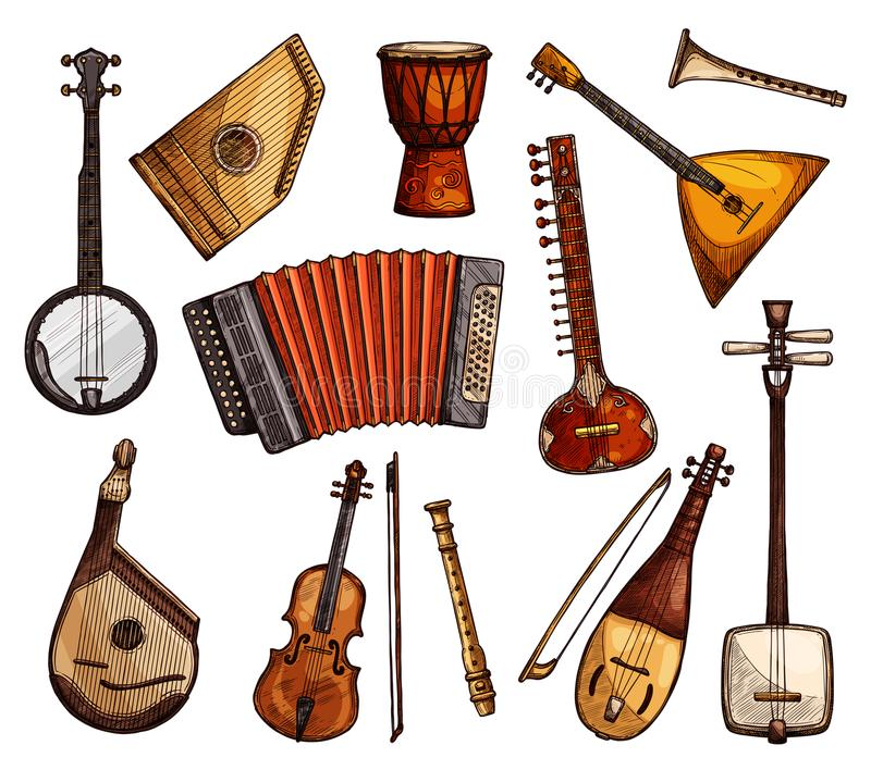 Ethnic musical instruments sketches set. Ethnic musical instruments sketches. Italian viola, flute and accordion, indian sitar, american banjo, african djembe vector illustration