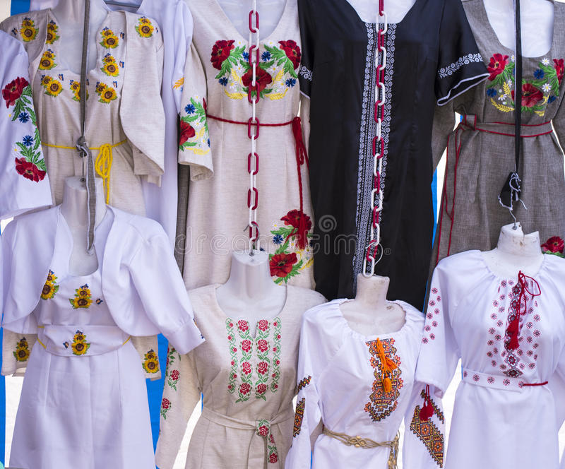Ethnic national embroidery clothes. stock photos