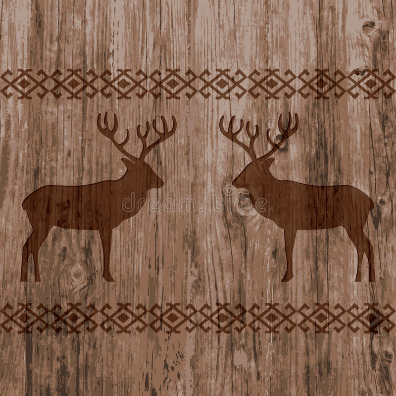 Ethnic nordic borders pattern with deer on realistic natural wood texture background. stock illustration