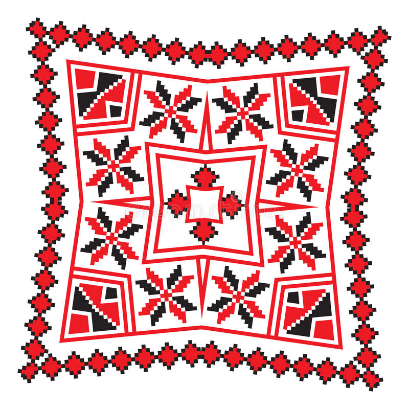 Ethnic ornament mandala geometric patterns in red color. Ethnic ornament mandala geometric patterns in red and black colors on white background. Vector stock illustration