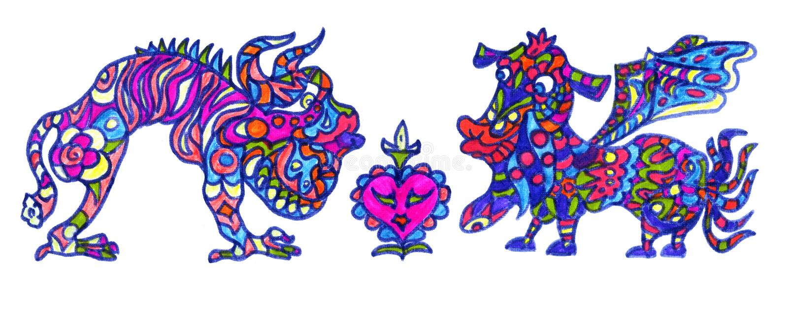 Ethnic ornament mythical monsters couple inspired by fusion of Ukrainian, Indian and Mexican traditional motifs. Felt-tip pens doodle drawing isolated on white stock illustration