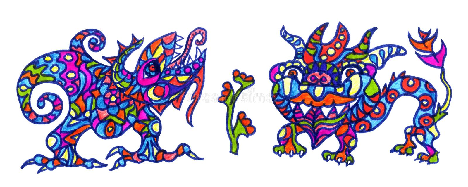 Ethnic ornament mythical monsters couple inspired by fusion of Ukrainian, Indian and Mexican traditional motifs stock illustration