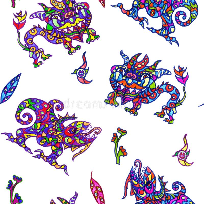 Ethnic ornament mythical monsters couple inspired by fusion of Ukrainian, Indian and Mexican traditional motifs. Felt-tip pens doodle drawing seamless pattern vector illustration