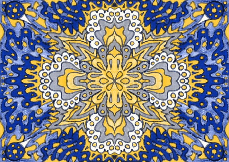 Ethnic ornament seamless pattern inspired by fusion of Ukrainian, Indian and Mexican traditional motifs. Blue and yellow colors felt-tip pens doodle drawing vector illustration