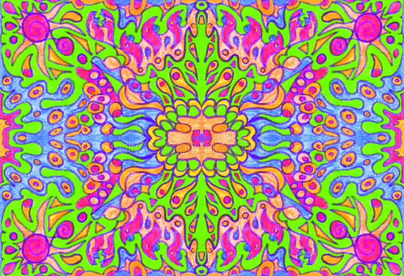 Ethnic ornament seamless pattern inspired by fusion of Ukrainian, Indian and Mexican traditional motifs. Green and pink colors felt-tip pens doodle drawing royalty free illustration