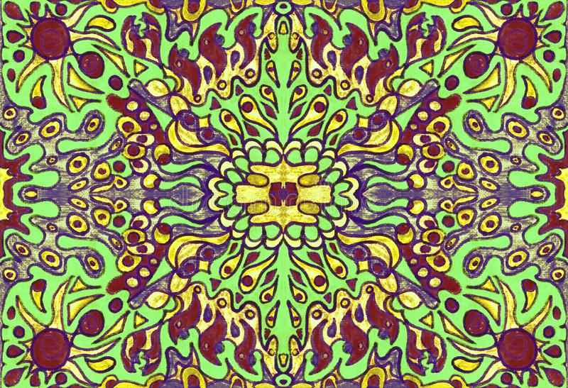 Ethnic ornament seamless pattern inspired by fusion of Ukrainian, Indian and Mexican traditional motifs. Green colors felt-tip pens doodle drawing royalty free illustration