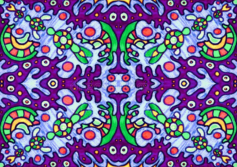 Ethnic ornament seamless pattern inspired by fusion of Ukrainian, Indian and Mexican traditional motifs. Purple, green and red colors felt-tip pens doodle vector illustration
