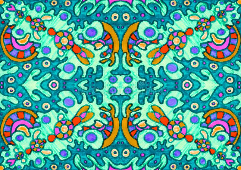 Ethnic ornament seamless pattern inspired by fusion of Ukrainian, Indian and Mexican traditional motifs. Green turquoise and red orange colors felt-tip pens vector illustration