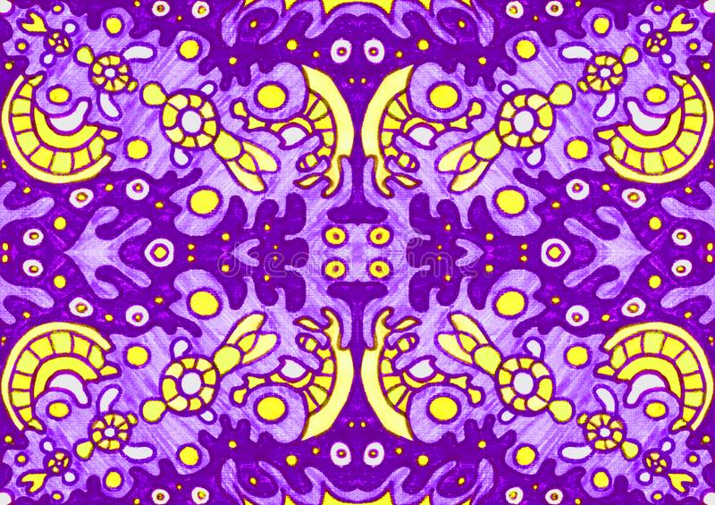 Ethnic ornament seamless pattern inspired by fusion of Ukrainian, Indian and Mexican traditional motifs. Purple and yellow colors felt-tip pens doodle drawing royalty free illustration