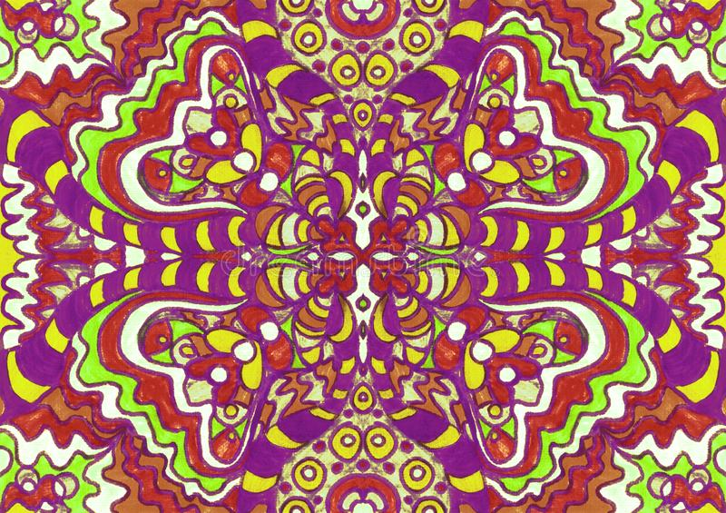 Ethnic ornament seamless pattern inspired by fusion of Ukrainian, Indian and Mexican traditional motifs. Red, purple, yellow, green colors felt-tip pens doodle stock illustration