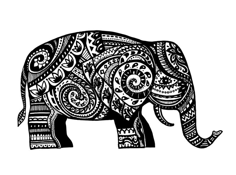 Ethnic ornamented elephant stock illustration