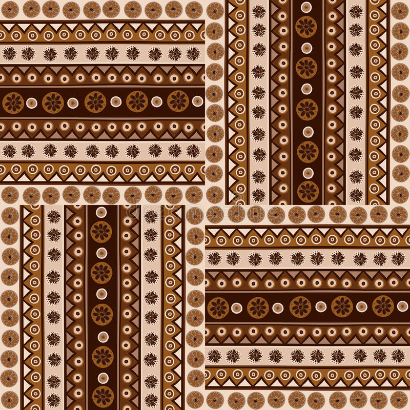 Ethnic ornaments seamless pattern in african style stock illustration