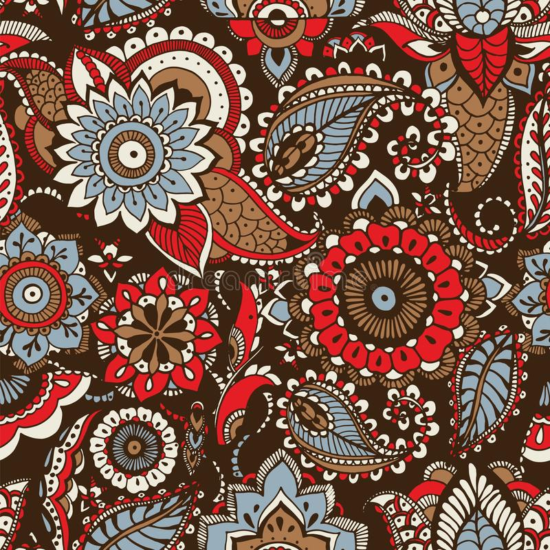 Ethnic paisley pattern with buta motifs and traditional Arabic floral mehndi elements on dark background. Motley royalty free illustration