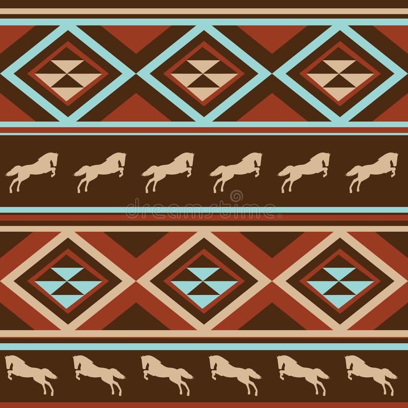 Ethnic patten background with horse. stock illustration