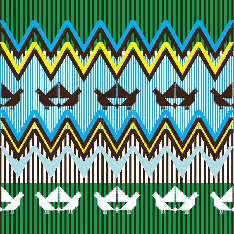 Ethnic pattern with bird stock illustration