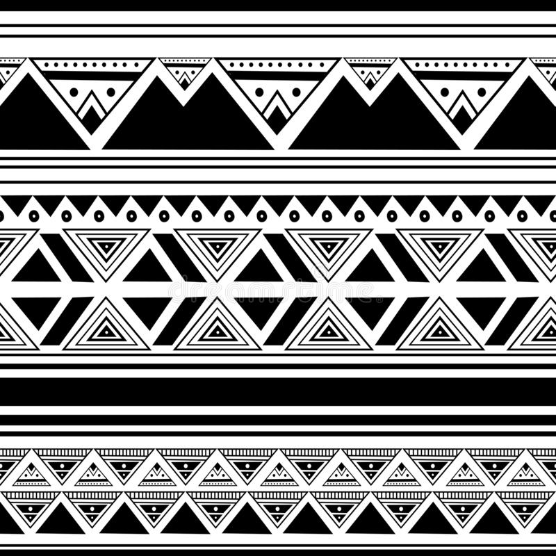 Ethnic pattern drawing background with seamless hand drawn black and white color abstract african style for print and fashion stock illustration
