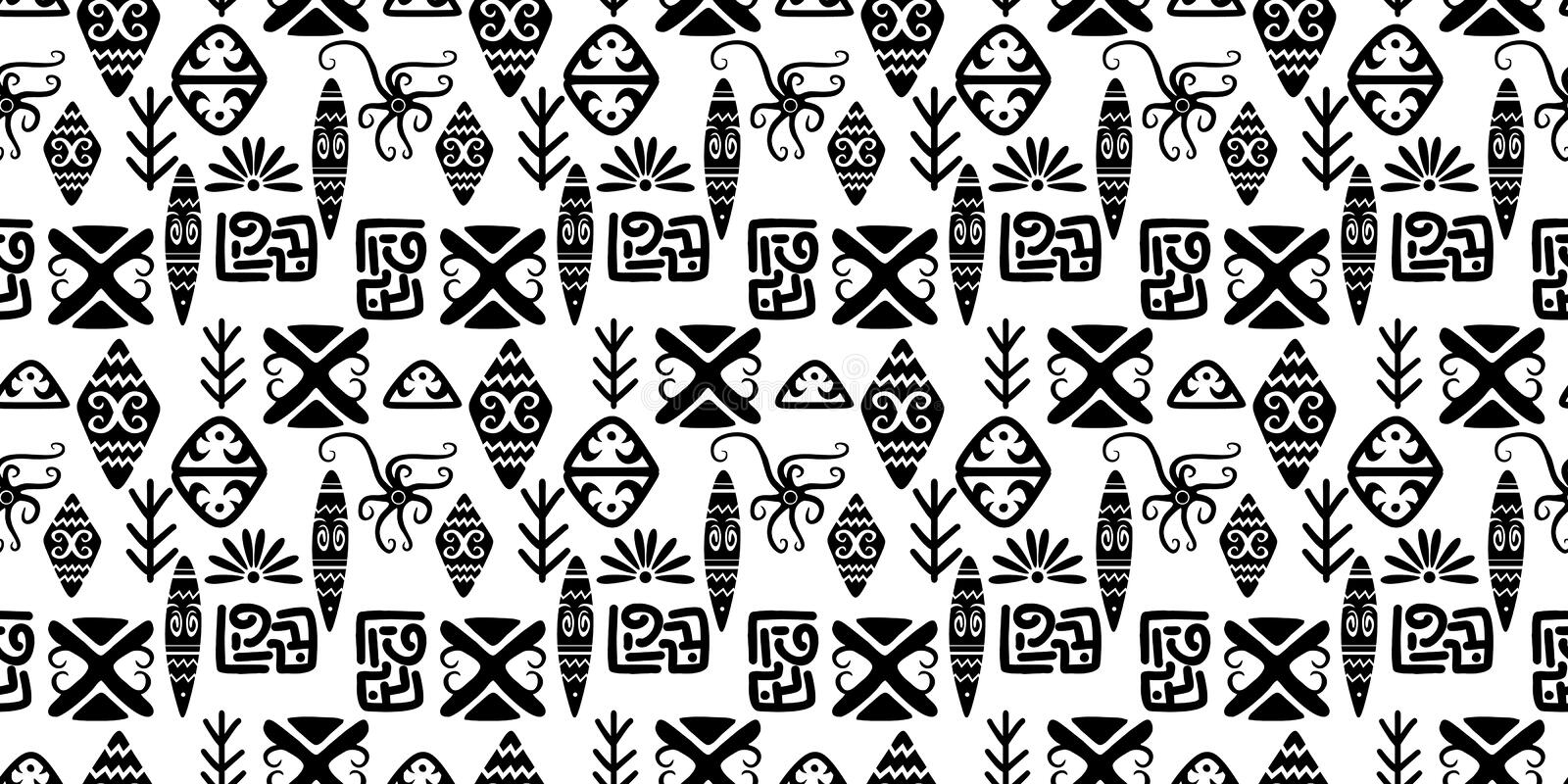 Ethnic pattern with seamless symbol elements hand drawn cultural background abstract trendy aztec african maya ancient in black. And white, tribal, stripe, line vector illustration