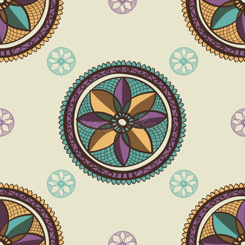 Ethnic pattern seamless textile ornament with purple yellow green blue doodle hand dawn abstract graphic flower , vector illustrat. Ion royalty free illustration