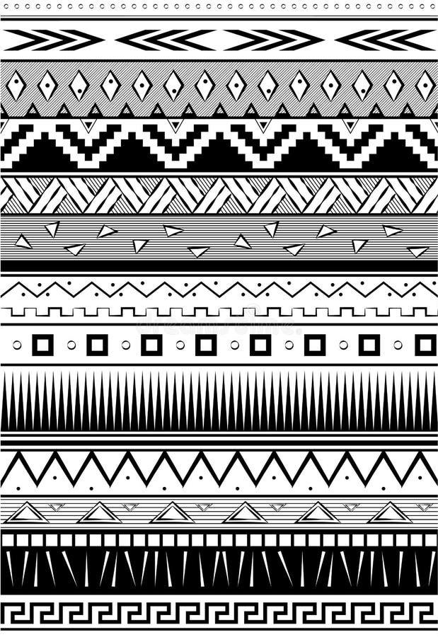 Ethnic pattern. Seamless tribal background. Geometric print. Black and white. vector. Illustration. royalty free illustration
